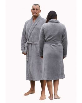 Fleece badjas grijs/taupe