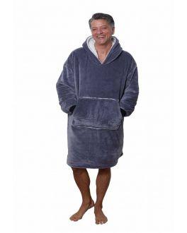 Snuggie fleece met hoodie - grijs