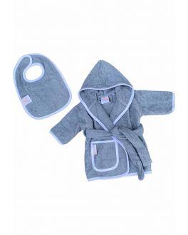 Baby badjas blauw met capuchon – badstof katoen