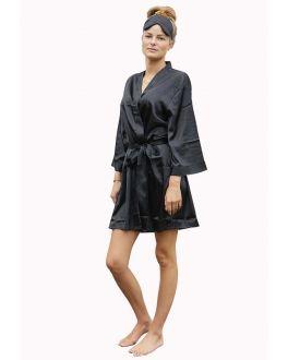 Kimono zwart – satijnen look