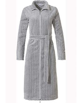 Lange dames badjas met rits – grijs