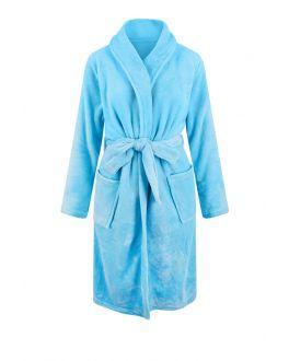 Fleece badjas lichtblauw