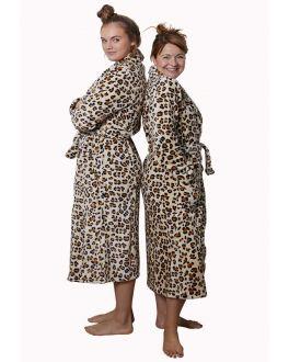 dames-badjas wild thing - panterdessin badjas dames van fleece