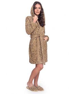 Damesbadjas luipaardprint katoen
