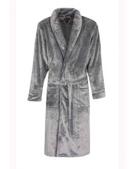Licht grijze fleece badjas voor heren