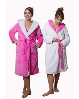 zuurstokeroze badjas omkeerbaar badjas model