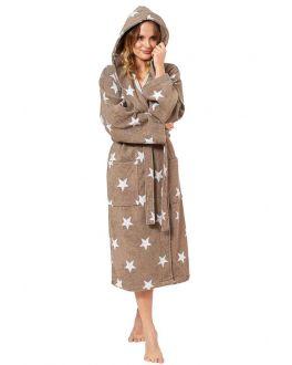 Bruine capuchon badjas met sterren