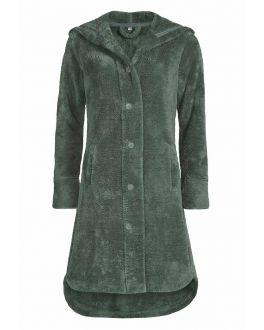 VanDyck fleece damesbadjas met knopen - olijfgroen