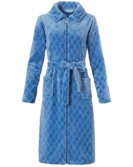 Badjas dames lichtblauw fleece
