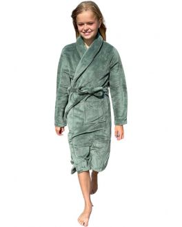 Kinderbadjas groen fleece