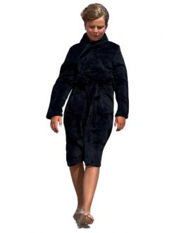 Fleece kinderbadjas met sjaalkraag - zwart - Relax Company