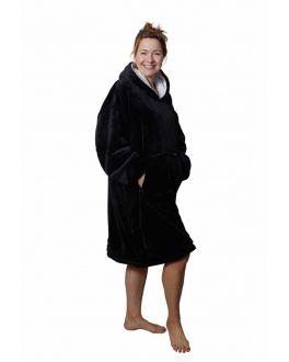 snuggie fleece met hoodie - zwart